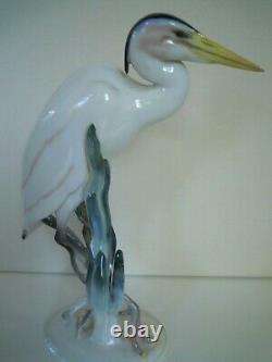 10.50 Art Deco Hutschenreuther-rosenthal Porcelain Heron Egret Bird Figurine