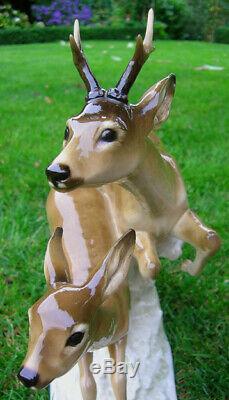 14 HUTSCHENREUTHER-ROSENTHAL Art Deco ROE DEER DOE + ROEBUCK Porcelain Figurine