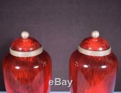 14 Pair of Sevres Paul Milet Art Deco Red Porcelain Decorative Urns