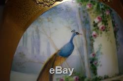 19 Hand Painted Artist Signed Osborne Massive Peacock Vase Heavily Gilded