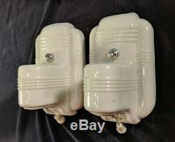 1920s-1930s PAULDING White Porcelain Ceramic Sconces, rewired, new hardware