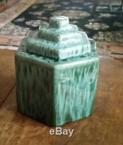 1920s-30s Vintage CAMARK POTTERY Six Sided HUMIDOR-Blue Marbled Glaze-MINT