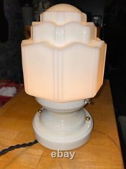 1920s Art Deco Schoolhouse Porcelain Flush Mount Ceiling Light Fixture Antique