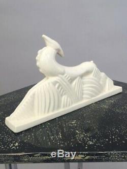 1920s Art Deco white crackle glaze deer ceramic figure Antique original