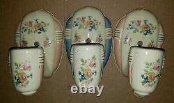1930-40 Vintage Set of 3 Art Deco PORCELIER Porcelain BATHROOM LIGHT FIXTURES