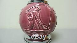 1930's ROOKWOOD Pottery Cigarette Dispenser Caddy, Art Deco Sports Theme