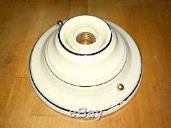 1930s Art Deco Pinstriped Porcelain Flush Mount Ceiling Light Fixture Antique