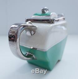 1930s Fraunfelter Art Deco Green/White/Silver Apple-Shaped Teapot Sliding Lid