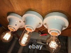 1930s set of 3 Porcelain Flush Mount Light Antique Art Deco bathroom kitchen