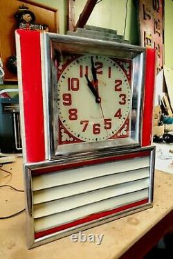 1950's Diner light up Art Deco menu Clock. See other porcelain neon sign, clocks
