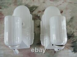 2 Vintage Art Deco Pull Chain Porcelain Bathroom Wall Sconces Lamps Light Outlet