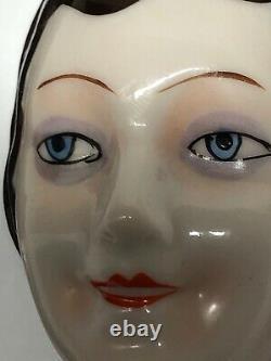 3 Antique German Porcelain Half 1/2 Doll Flat Face Art Deco Flapper Brunette #X