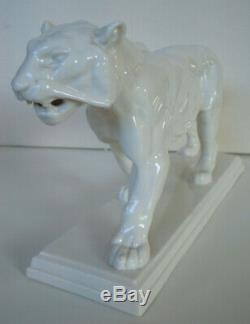 36cm ART DECO LENCK PASSAU PORZELLAN FIGUR TIGER Löwe Porcelain Figurine ca. 1920