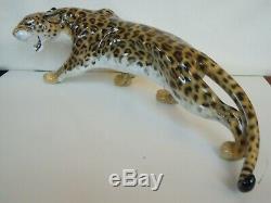 47cm ART DECO HUTSCHENREUTHER FIGUR LEOPARD WILDKATZE Porcelain Figurine Granget