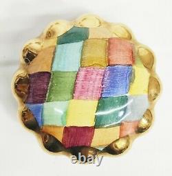 5 Mackenzie Childs Harlequin Handpainted Pottery Drawer Pulls / Knobs