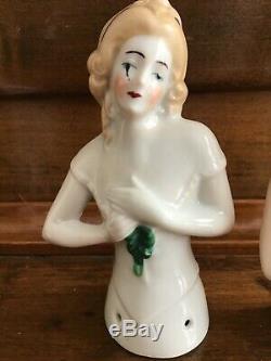 8 Antique Vintage German Half Doll Pincushion, Art Deco Flapper, Victorian Lady