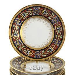 9pc Ambrosius Lamm Dresden Porcelain Bread Plates Art Deco design Celtic Knots