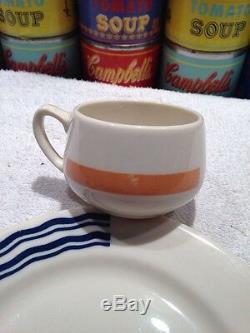 A very rare Art Deco SS Leviathan Club demitasse cup & dessert plate Syracuse