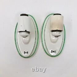 ALABAX Green White Porcelain Deco Wall Light Sconce Fixture Vintage Bathroom