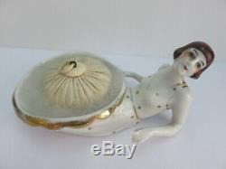 ANTIQUE Porcelain Art Deco Half Doll and Powder Bowl with Puff White Gold Trim