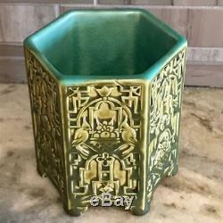 ANTIQUE Rookwood Pottery ARTHUR CONANT 6 sided Art Deco Bird Vase #2452