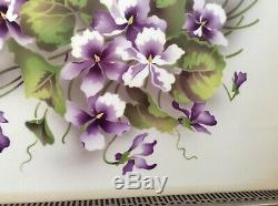 ANTIQUE Violets GERMAN PORCELAIN and SILVERTONE METAL SERVING TRAY 1900-1930