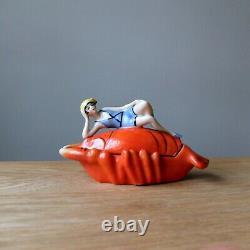 ART DECO LOBSTER BATHING BEAUTY Vintage Flapper Belle Half Doll Trinket Pin Dish