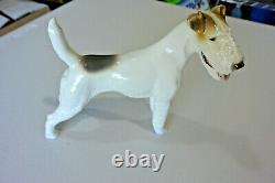 Allach Porcelain Airedale Standing Fox Terrier Dog No. 19 Theodore Karner Marked