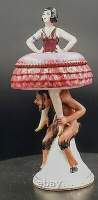 Allemagne Boite Poudrier Porcelaine Art Deco 1925 Half Doll German Powder Box
