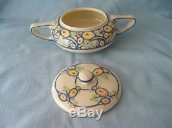 American Belleek Lenox Teapot Creamer Sugar Bowl Set Art Deco Abstract Signed