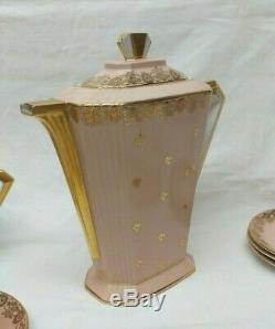 Ancien Service à THÉ porcelaine Rose & or LIMOGES art déco / Bernardaud