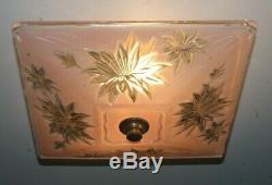 Antique 14 square pink glass Art Deco flush mount ceiling light fixture