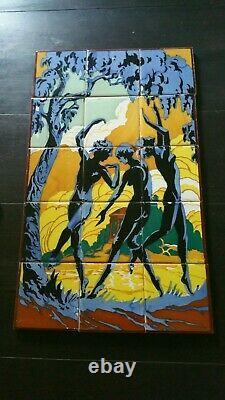 Antique 1920s Art Deco Nude Women Dancing Scenic 15 TILE PANEL Wall Table Spain