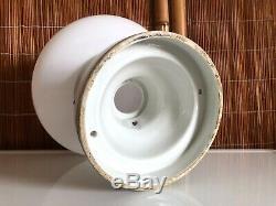 Antique 1920s Porcelain ART DECO Flush Mount LIGHT FIXTURE Schoolhouse Shade VTG