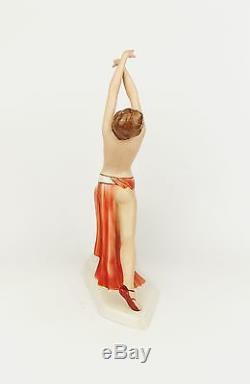 Antique 1930s ROYAL DUX Art Deco Dancer Figurine Red Dress Act Czechoslovakia