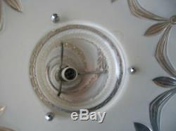 Antique 30s-40s Vtg Art Deco Glass Ceiling Light Fixture Chandelier