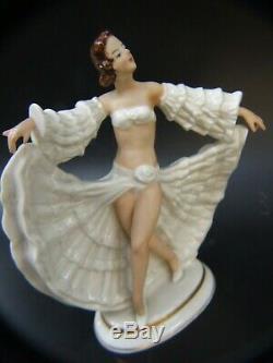 Antique Art Deco Continental Dresden German Porcelain Lady Dancer Figurine
