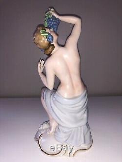 Antique Art Deco German Porcelain Nude Lady Woman Maiden Grapes Figurine Figure