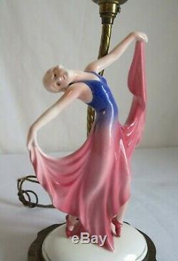 Antique Art Deco Porcelain Dancing Lady Lamp