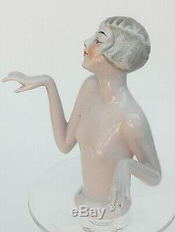 Antique Art Deco Porcelain Pretty Lady Fancy Hair Style Pin Cushion Half Doll