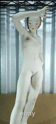 Antique Art Deco Rosenthal Porcelain Figurine Large Nude, 11 H