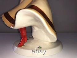 Antique Art Deco Royal Dux Semi Nude Gypsy Lady Woman Dancer Porcelain Figurine