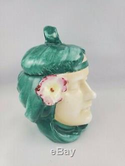 Antique Art Nouveau Lidded Humidor Jar Tobaco Head Majolica Figural 1900s Deco