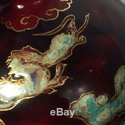 Antique Art Porcelain Vase Signed Oriole Flambe by Bernard Moore Chinese Dragons