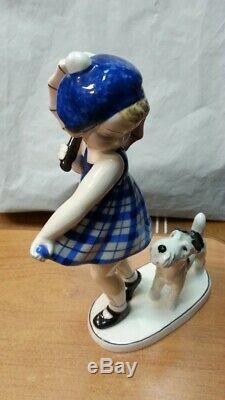 Antique Austrian Art Deco Goldscheider Porcelain Figurine Girl With Dog 30s