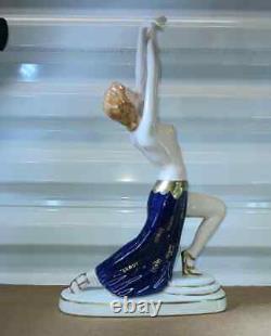 Antique Austrian Wien Art Deco Porcelain Figurine, Semi Nude Dancer, 12 H