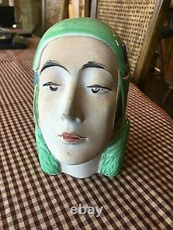 Antique Bisque Majolica Art DECO Nouveau Lady Head Lidded Tobacco JAR