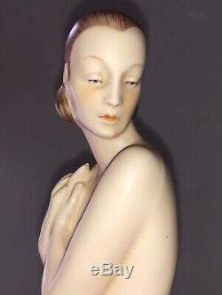 Antique Bisque Porcelain Art Deco Royal Dux Lady Woman Peacock Dancer Figurine