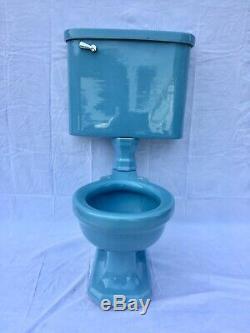 Antique Ceramic Baby Blue Porcelain Toilet Standard Tiffin Old Vtg Deco 487-20E