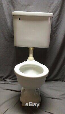 Antique Ceramic White Porcelain Toilet Bowl Tank Lid Standard Tiffin Vtg 172-20E